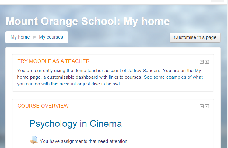moodle how to change the front page