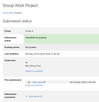 4 Student1 logs in and see the revised submission text and file as well as the Submitted for Grading status.png